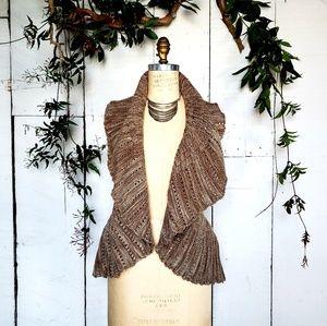 Sweaters - Knit Vest Frill Shrug Sweater, Sz XL